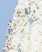 Map of Wineries in Israel