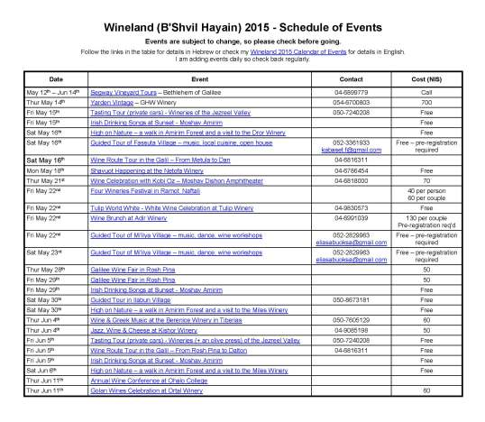 Wineland 2015 - Calendar of Events - English